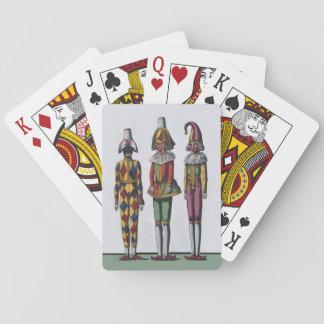 Muñecas caprichosas coloridas del bufón del vintag cartas de póquer