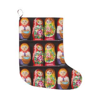 Muñecas coloridas de Matryoshka Calcetín Navideño Grande