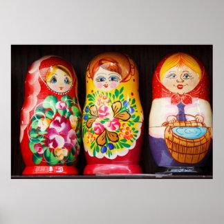 Muñecas coloridas de Matryoshka Posters