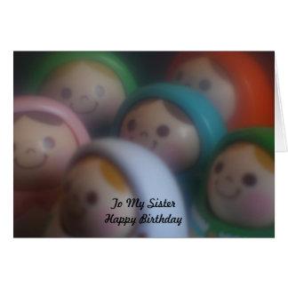 Muñecas con las caras sonrientes a mi feliz cumple felicitacion