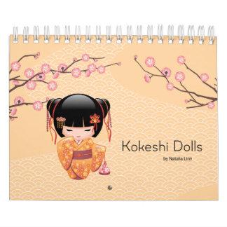 Muñecas de Kokeshi Calendario De Pared
