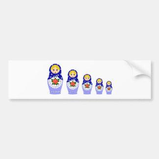 Muñecas de Matryoschka azules Etiqueta De Parachoque