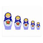 Muñecas de Matryoschka azules Postal