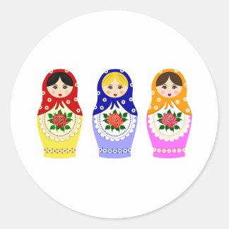 Muñecas de Matryoschka Pegatina Redonda