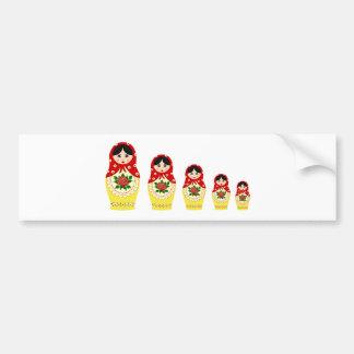Muñecas de Matryoschka rojas Pegatina De Parachoque