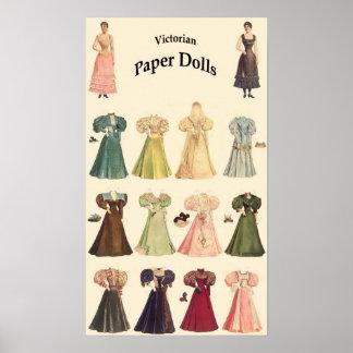 Muñecas de papel del vintage, 2 de 2, fondo poner póster