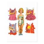 Muñecas de papel del vintage postal