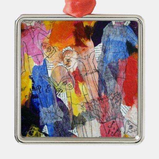 Muñecas de papel una pintura de Connelly Adorno Navideño Cuadrado De Metal