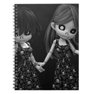 Muñecas de trapo góticas BW Cuaderno