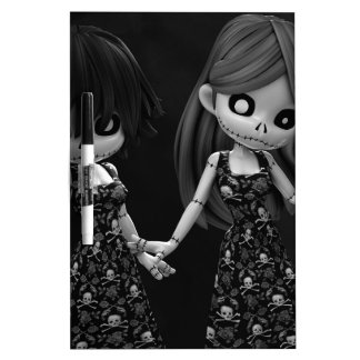 Muñecas de trapo góticas BW Pizarra Blanca