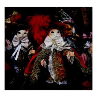 Muñecas del gatito de Venecia Italia Poster