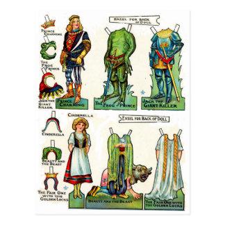 Muñecas del papel de cuento de hadas postales