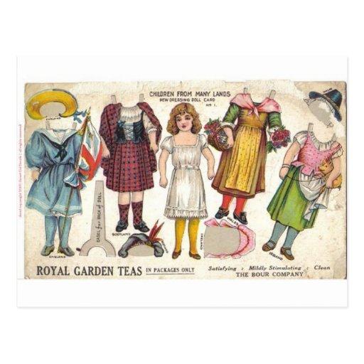 Muñecas del té postal