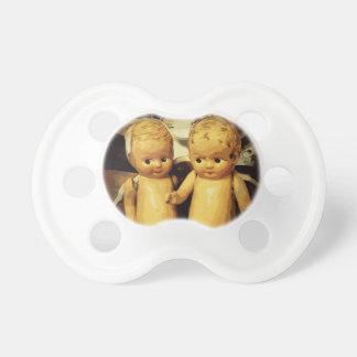 Muñecas del vintage de los gemelos chupete de bebe
