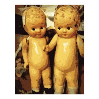 Muñecas del vintage de los gemelos plantilla de membrete