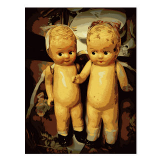 Muñecas del vintage de los gemelos postal