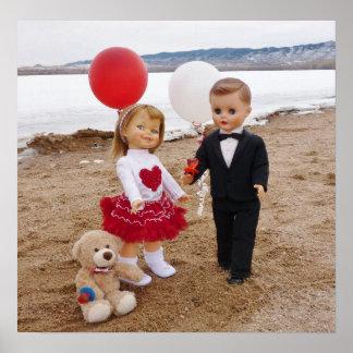 Muñecas del vintage del el día de San Valentín par Poster