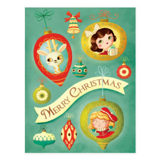 Muñecas del vintage del navidad y postal del reno