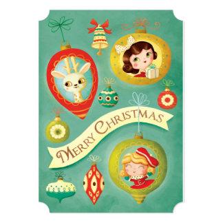 """Muñecas del vintage del navidad y tarjeta del reno invitación 5"""" x 7"""""""
