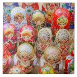 Muñecas jerarquizadas rusas azulejo cuadrado grande