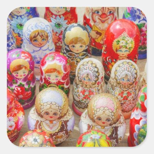 Muñecas jerarquizadas rusas pegatina cuadrada