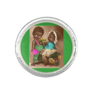 muñecas negras adorables de los años 20 RPPC en Anillos