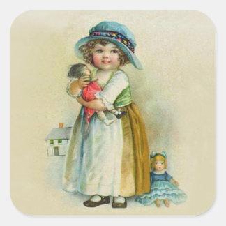 Muñecas rechonchas del gorra de las mejillas de la pegatina cuadrada