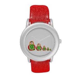 muñecas rusas lindas de la jerarquización relojes de pulsera