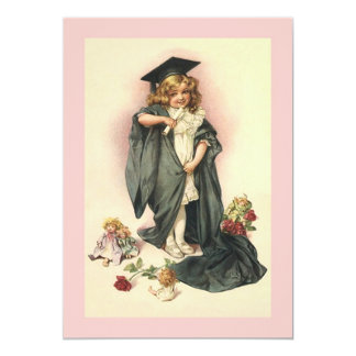 """Muñecas y rosas en blanco de la graduación del invitación 5"""" x 7"""""""