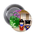 Muñecas y salón de té de Kokeshi Pin Redondo De 2 Pulgadas
