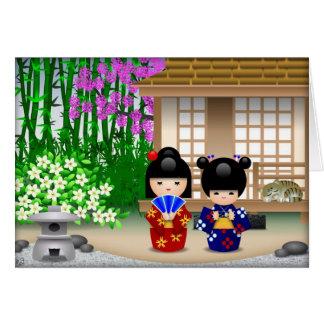 Muñecas y salón de té de Kokeshi Felicitación