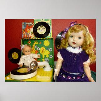 Muñecas y tocadiscos del vintage posters