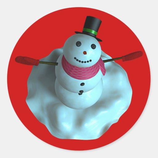 muñeco de nieve 3D Pegatinas Redondas