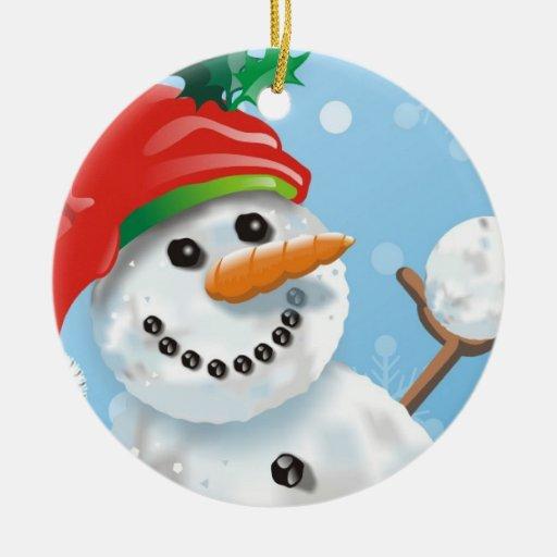 Muñeco de nieve adorno navideño redondo de cerámica