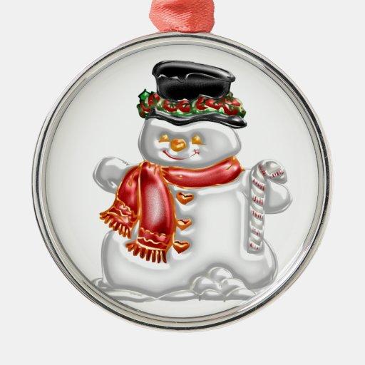 Muñeco de nieve adorno redondo plateado