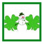 Muñeco de nieve afortunado con dos tréboles 4-Leaf Esculturas Fotográficas