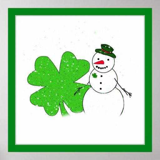 Muñeco de nieve afortunado poster