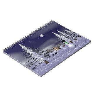 Muñeco de nieve agradable en la noche notebook