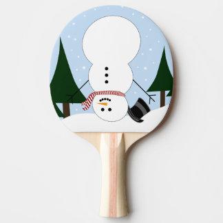 Muñeco de nieve al revés pala de tenis de mesa