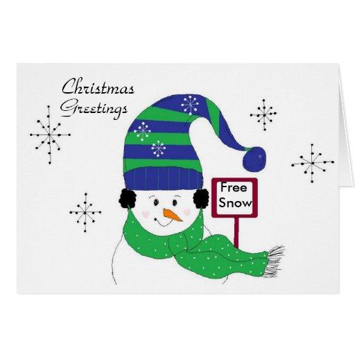Muñeco de nieve alegre con el gorra rayado tarjeta de felicitación