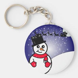 Muñeco de nieve alegre llavero redondo tipo pin