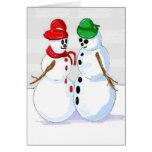 Muñeco de nieve alegre que piensa en usted tarjeta