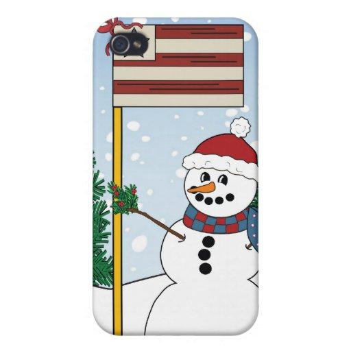 Muñeco de nieve americana con la bandera iPhone 4 fundas