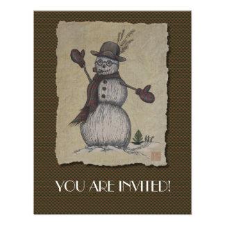 Muñeco de nieve amistoso feliz anuncio personalizado