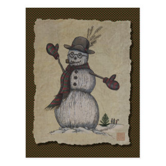 Muñeco de nieve amistoso feliz postales