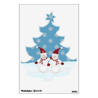 Muñeco de nieve: Árbol de navidad formado: Etiquet Vinilo