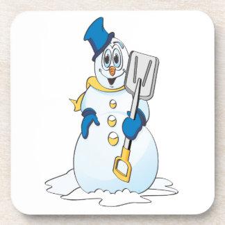 Muñeco de nieve azul del dibujo animado del oro posavasos de bebidas