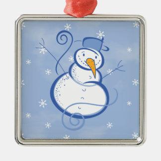 Muñeco de nieve azul mágico adorno cuadrado plateado