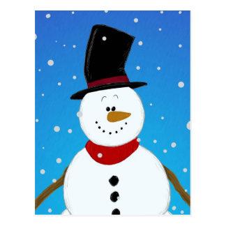 Muñeco de nieve - azul postal