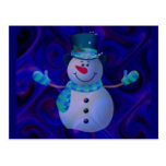 Muñeco de nieve, azul tarjeta postal